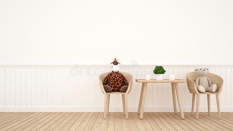 Giraffdocka och björndocka på matsal eller ungerum - tolkning 3D stock illustrationer
