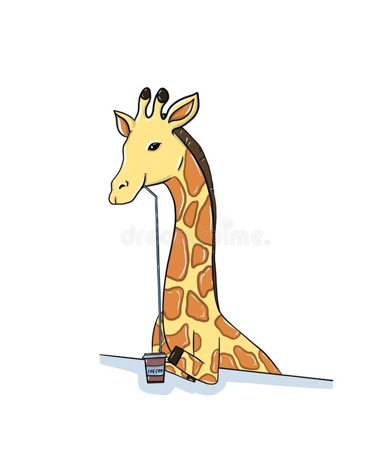 Giraffdrinkkaffe vektor illustrationer