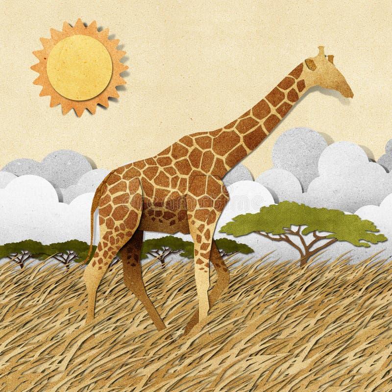 Giraffe à l'arrière-plan de papier réutilisé par zone de safari illustration stock