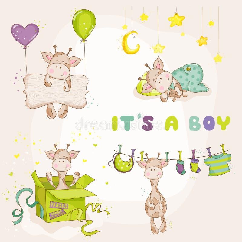 Giraffe αγοράκι καθορισμένο - κάρτα ντους μωρών απεικόνιση αποθεμάτων