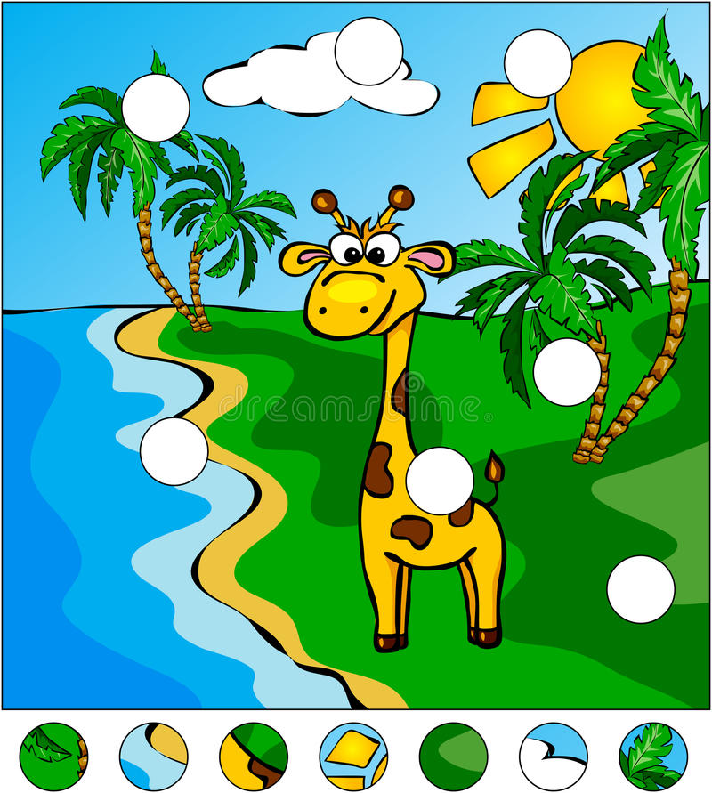 Giraffe και φοίνικες στο τροπικό νησί: απεικόνιση αποθεμάτων