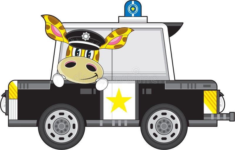 Giraffe κινούμενων σχεδίων αστυνομικός και περιπολικό της Αστυνομίας ελεύθερη απεικόνιση δικαιώματος