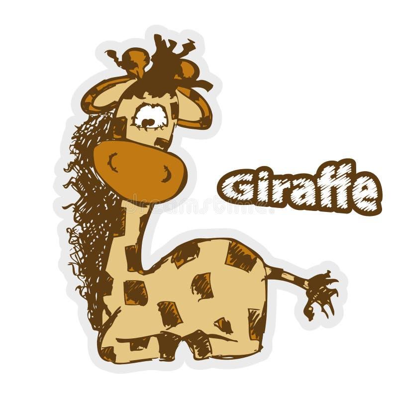 Giraffe κινούμενων σχεδίων διασκέδασης ελεύθερη απεικόνιση δικαιώματος