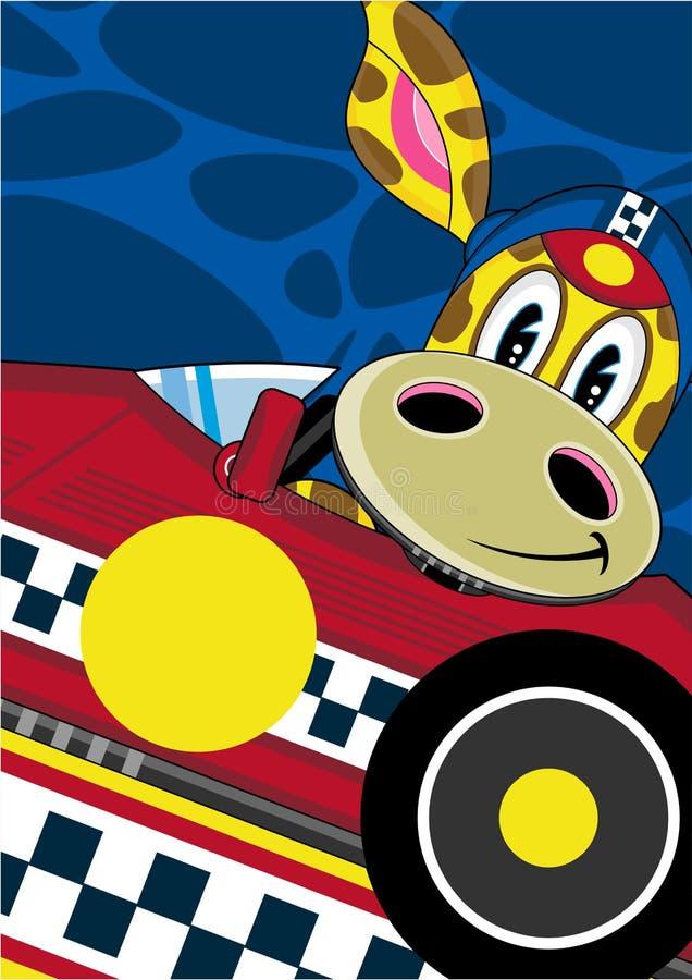 Giraffe κινούμενων σχεδίων στο αγωνιστικό αυτοκίνητο απεικόνιση αποθεμάτων
