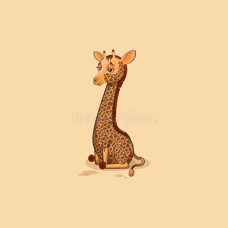 Giraffe κινούμενων σχεδίων χαρακτήρα Emoji λυπημένο και που ματαιώνεται απεικόνιση αποθεμάτων