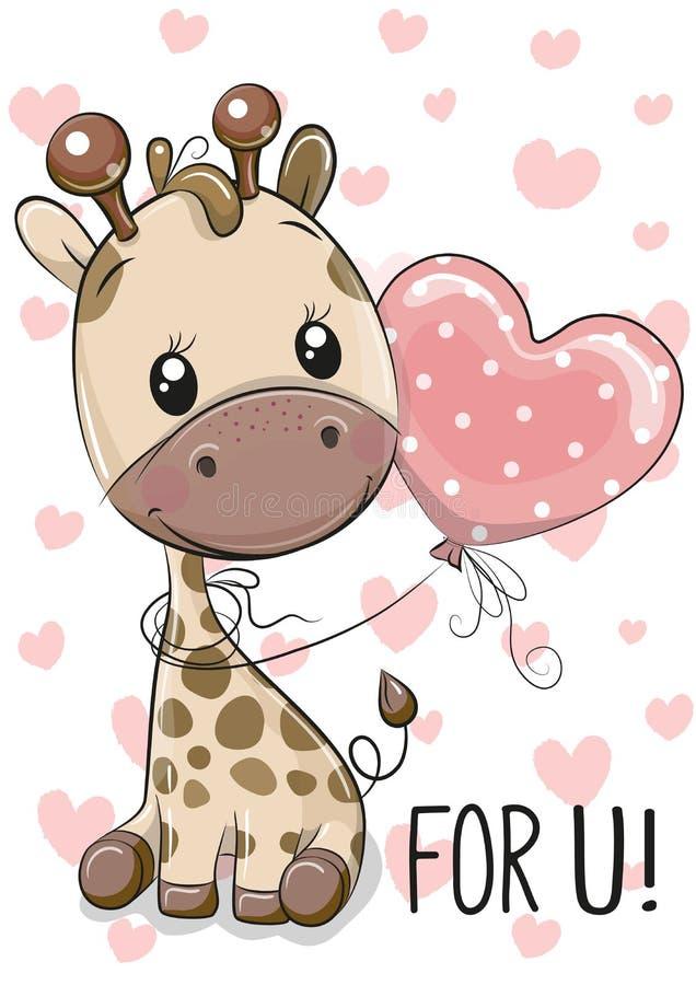Giraffe με το μπαλόνι σε ένα υπόβαθρο καρδιών διανυσματική απεικόνιση