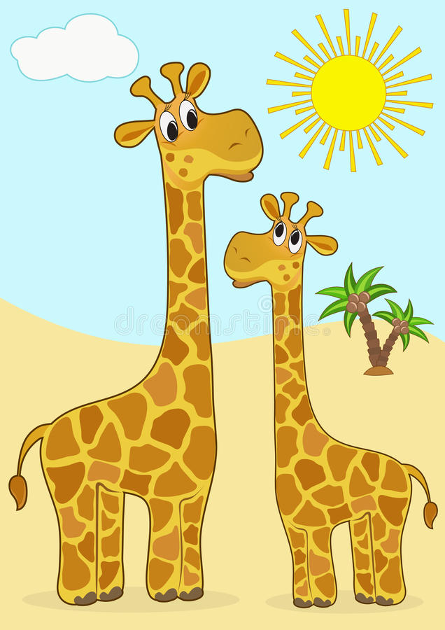 giraffe μωρών μητέρα ελεύθερη απεικόνιση δικαιώματος