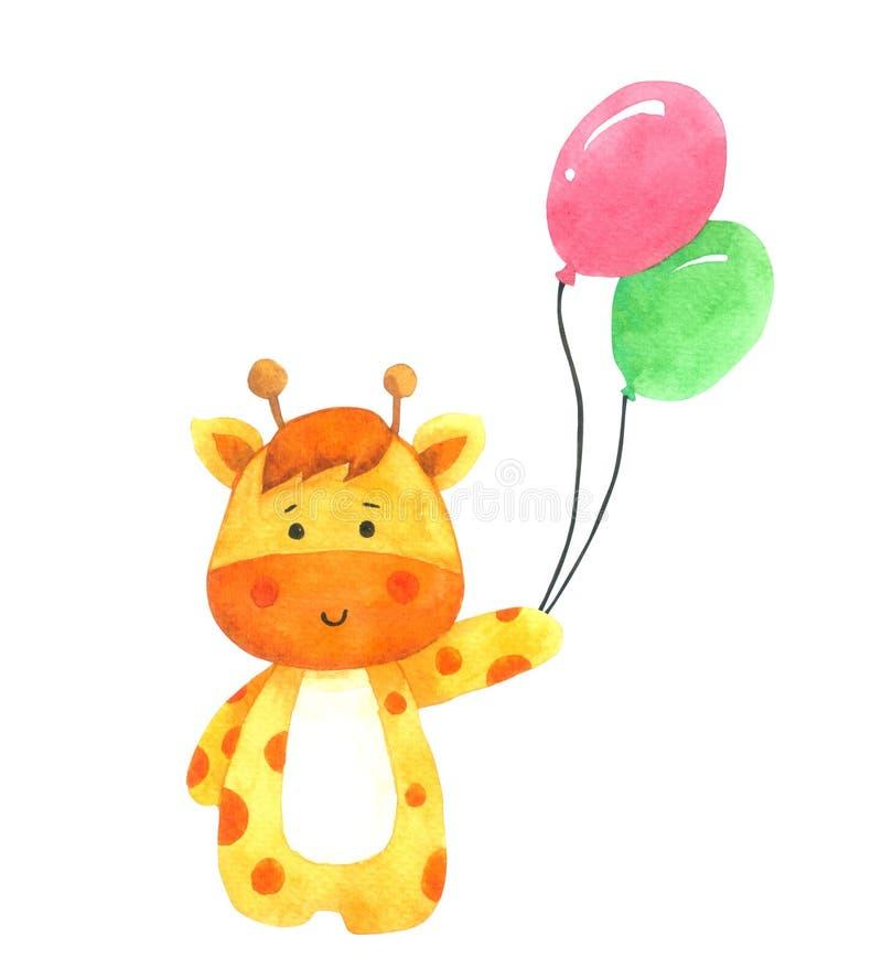 Giraffe το μπαλόνι εκμετάλλευσης, watercolor κινούμενων σχεδίων στο άσπρο υπόβαθρο, συρμένος χέρι χαρακτήρας για τα παιδιά, ευχετ απεικόνιση αποθεμάτων