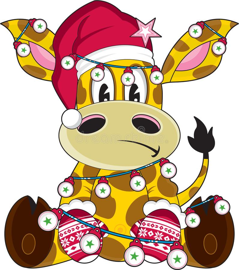 Giraffe Χριστουγέννων Άγιου Βασίλη κινούμενων σχεδίων διανυσματική απεικόνιση