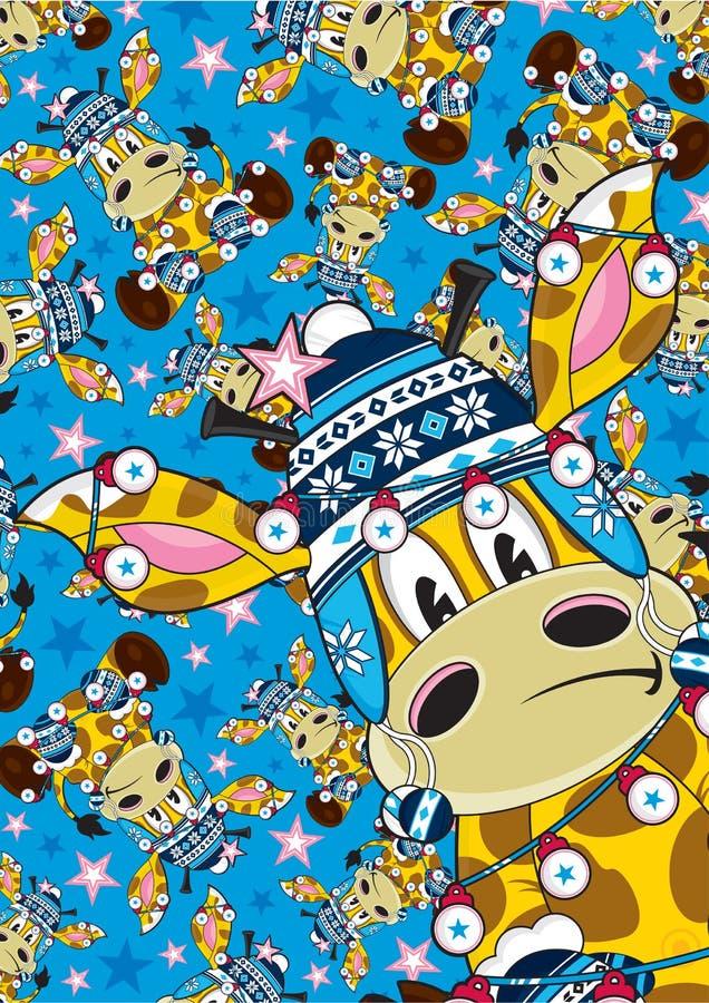 Giraffe Χριστουγέννων καπέλων Bobble κινούμενων σχεδίων σχέδιο διανυσματική απεικόνιση