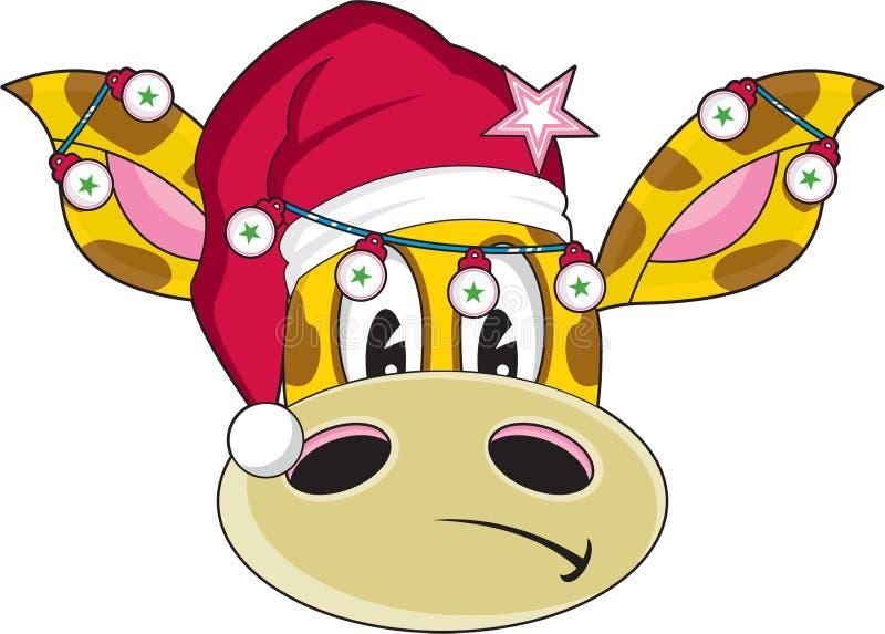 Giraffe Χριστουγέννων καπέλων Santa κινούμενων σχεδίων ελεύθερη απεικόνιση δικαιώματος