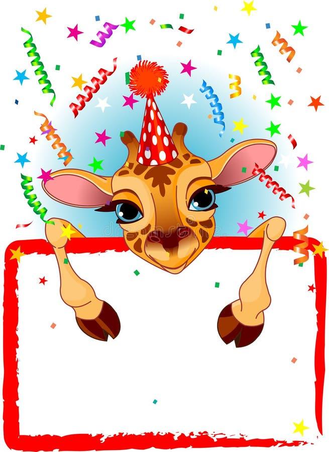 giraffe дня рождения младенца иллюстрация вектора