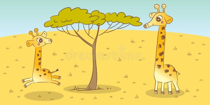 Giraffe. Animal family- giraffe, children book illustration vector illustration
