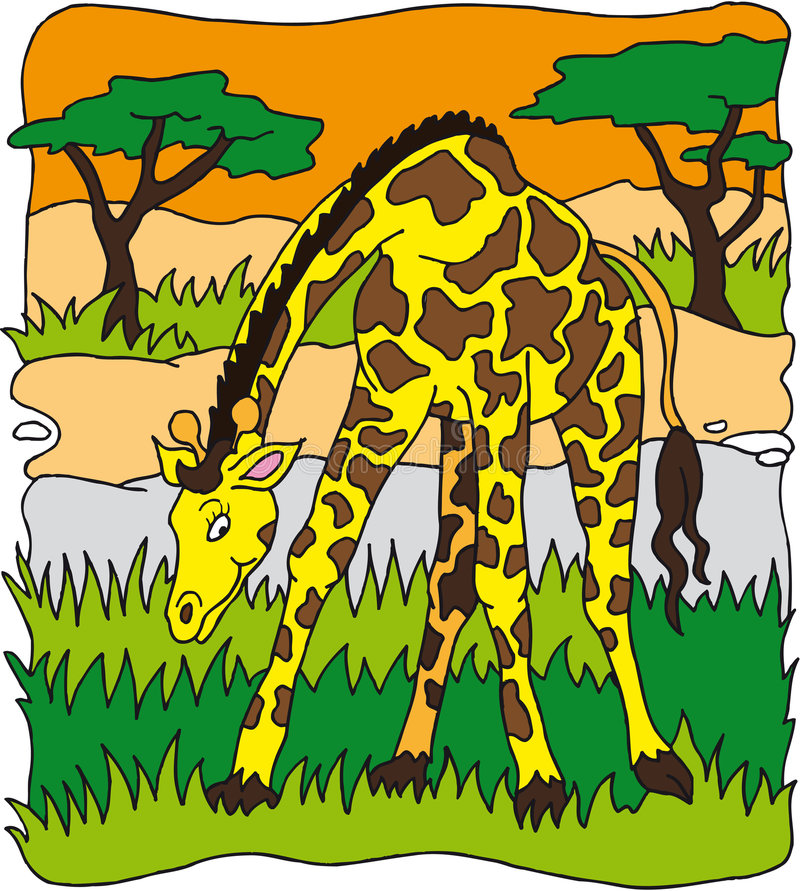 Download Giraffe stock vector. Image of stains, cartoon, grass - 7906481