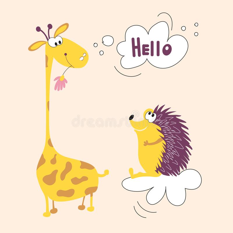 A giraffe from Africa and a hedgehog forest animal friends vector illustration