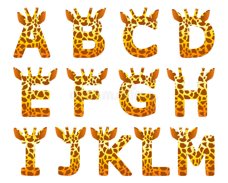 Giraffe A ajustado alfabeto a M ilustração stock