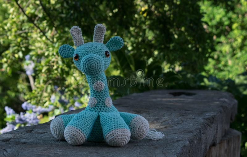 Close up of amigurumi giraffe royalty free stock image