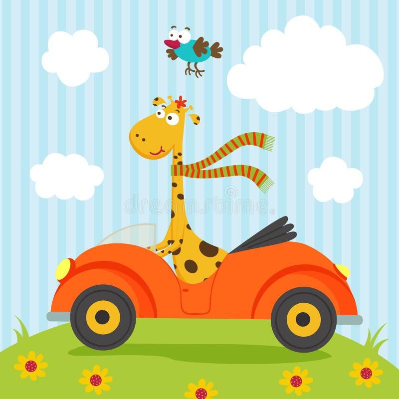Giraffe and bird go by car vector illustration