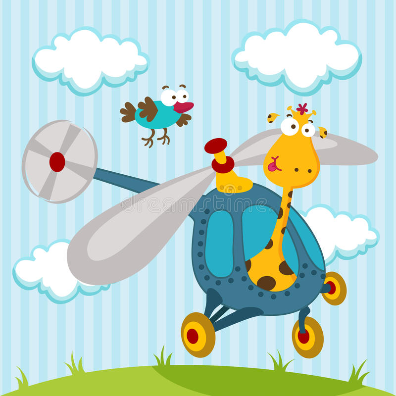 Giraffe and bird on a helicopter royalty free illustration