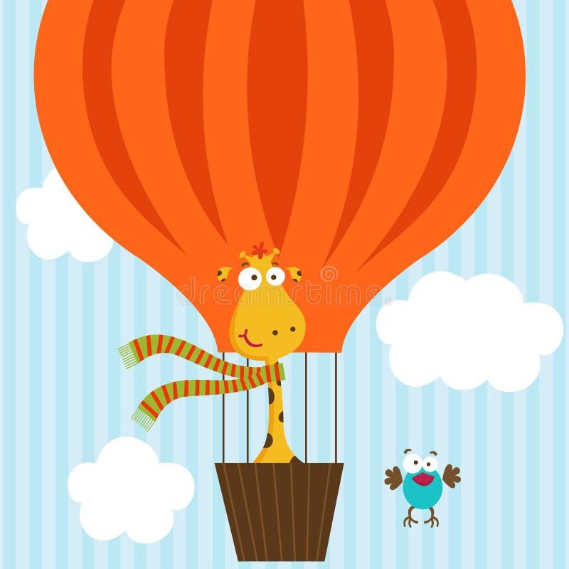 Giraffe and bird on hot air balloon stock illustration