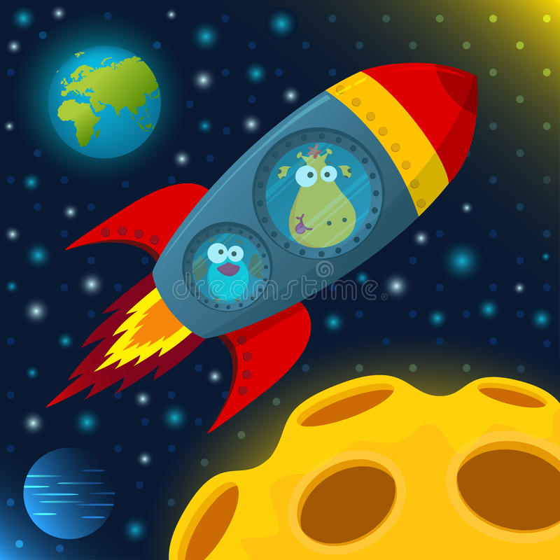 Giraffe and bird in space stock illustration