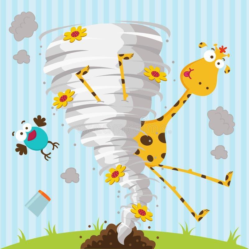 Giraffe bird and tornado stock illustration