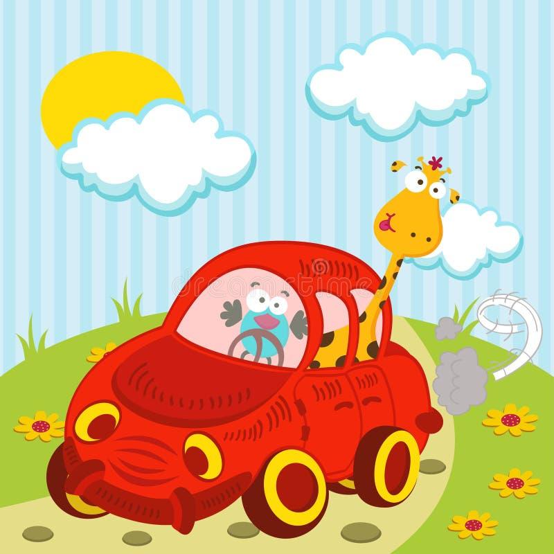 Giraffe and bird traveling by car stock illustration