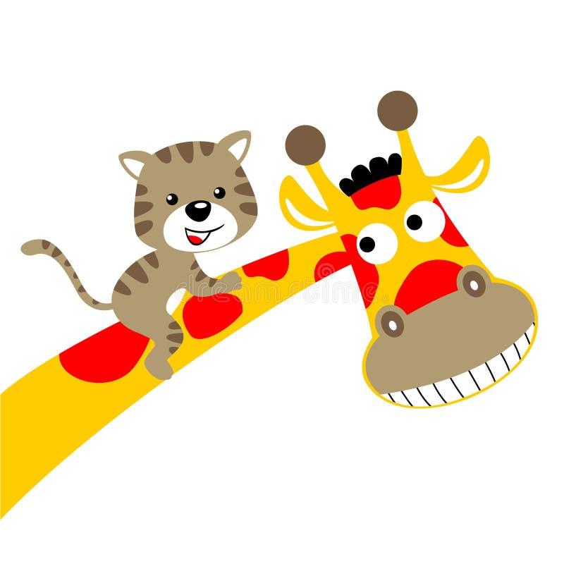 Giraffe cartoon with little cat vector illustration