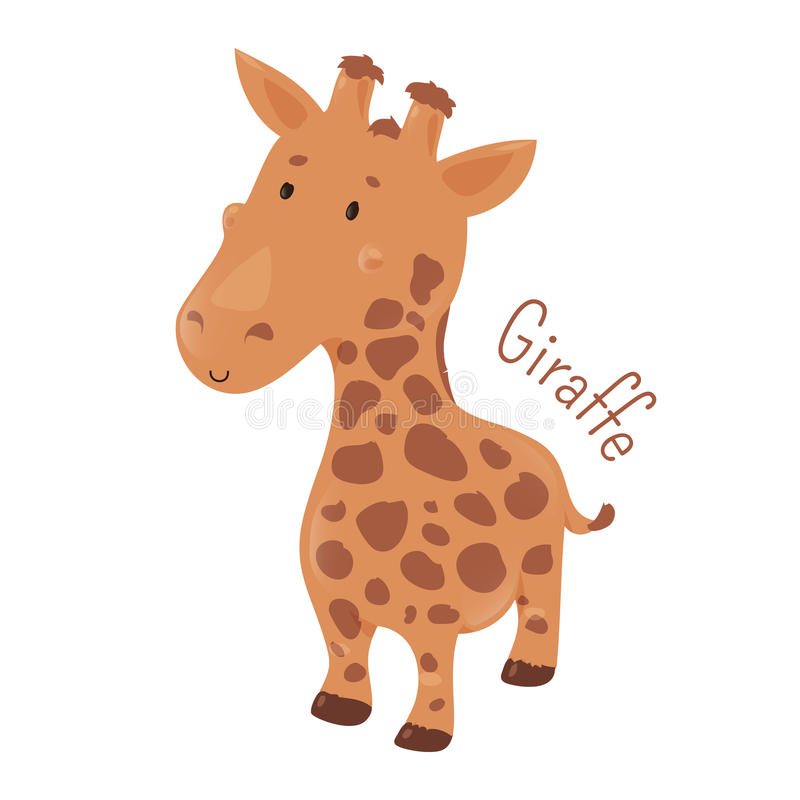 Giraffe . Child fun icon. Giraffe . Giraffa camelopardalis. African even-toed ungulate mammal, the tallest terrestrial and largest ruminant. Part of series of stock illustration