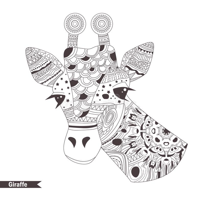 Giraffe Coloring book stock vector Illustration of mandala 100329757