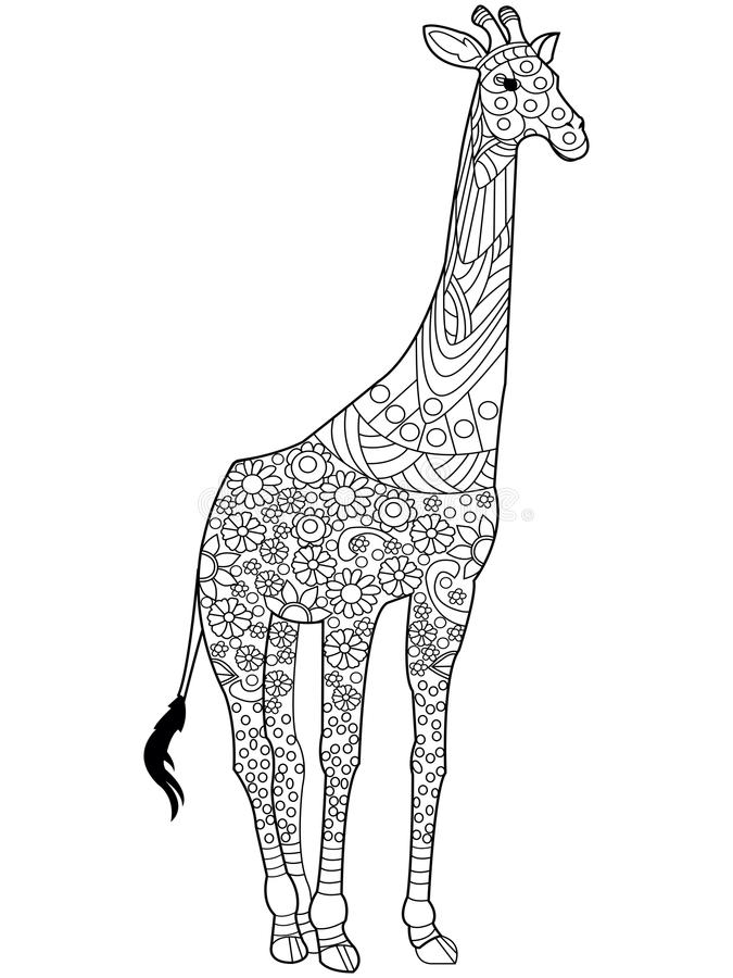 Giraffe coloring book vector for adults stock vector for Giraffe mandala coloring pages