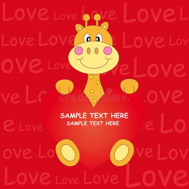 Giraffe - coração ilustração stock