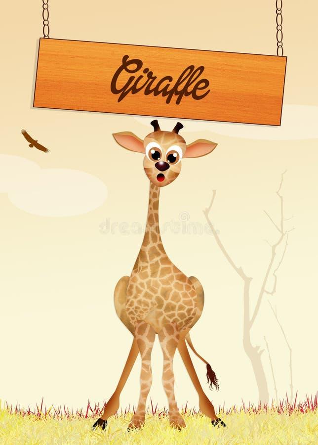 Giraffe dans la jungle illustration de vecteur