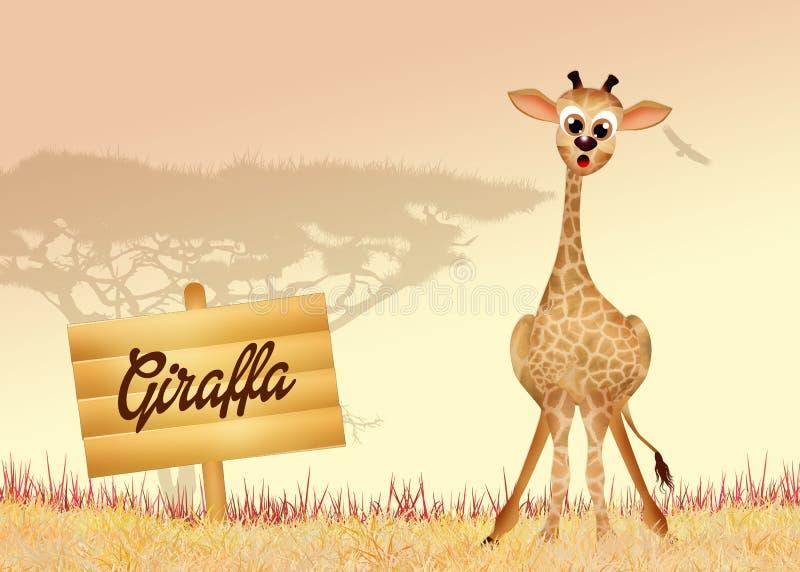 Giraffe dans la jungle illustration stock