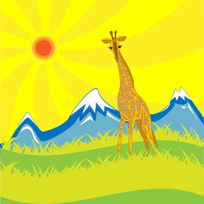 Giraffe dans la savane illustration libre de droits