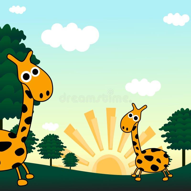 Giraffe dans une jungle illustration de vecteur