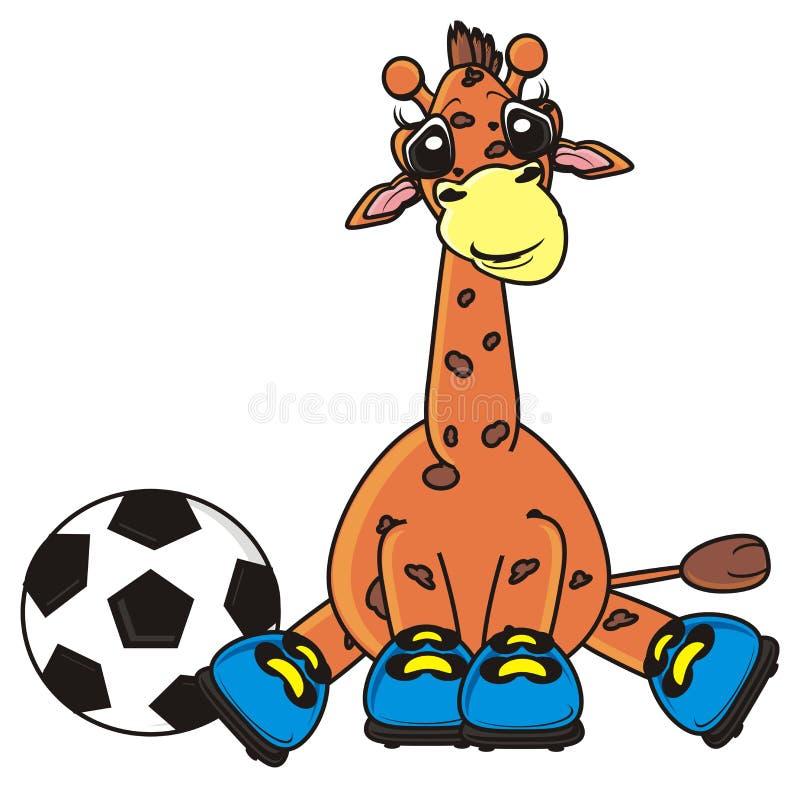 Giraffe, die einen Fußball versteckt lizenzfreie abbildung