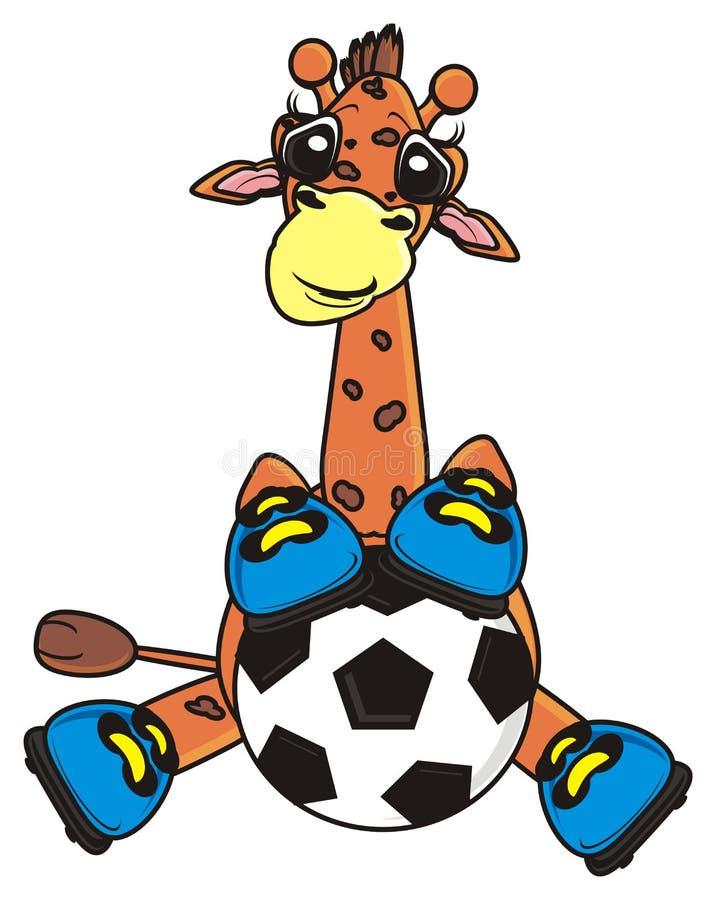 Giraffe, die einen Fußball versteckt stock abbildung