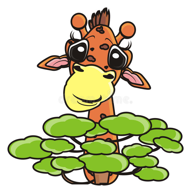 Giraffe, die hinter einem Baum sich versteckt lizenzfreie abbildung
