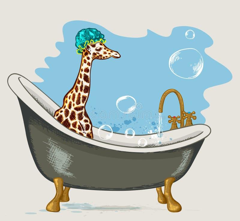 Giraffe, die im Badezimmer sitzt stock abbildung