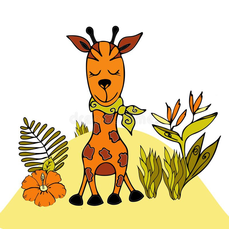 Giraffe doodle style vector template. vector illustration