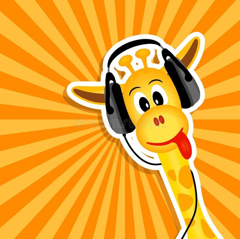 Giraffe drôle avec des écouteurs illustration de vecteur