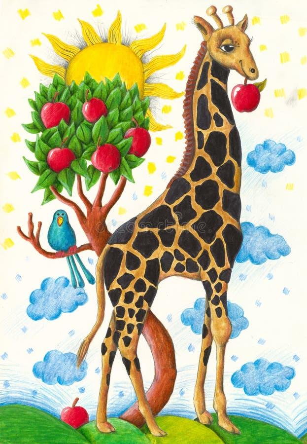 Giraffe drôle mangeant la pomme illustration libre de droits