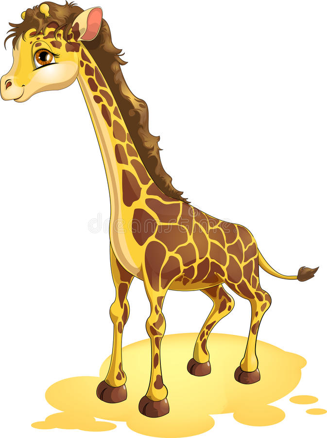 Giraffe. Drawn on a white background stock illustration
