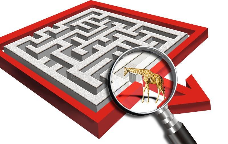 Giraffe e labirinto ilustração do vetor