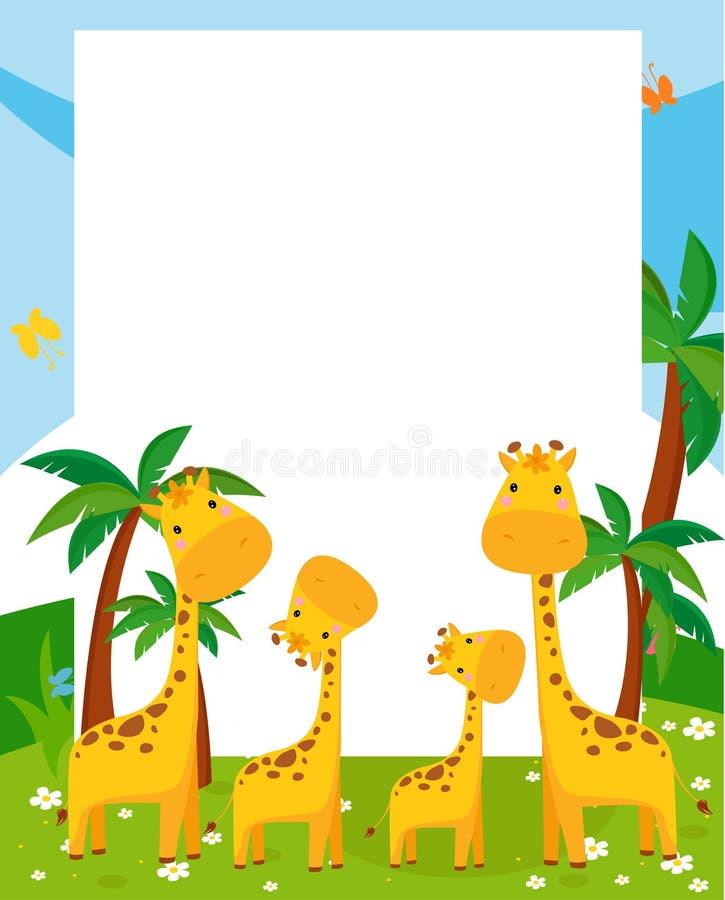 Giraffe e quadro ilustração do vetor