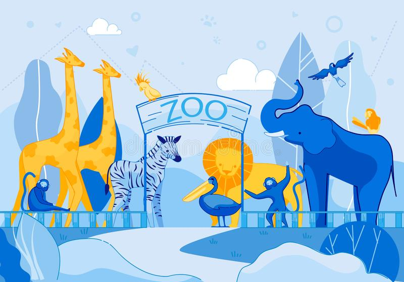 Giraffe Elephant Parrot Monkey Lion Zebra at Zoo vector illustration