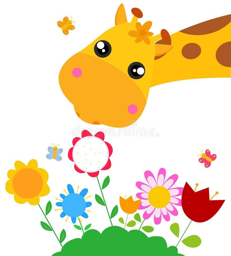 Giraffe et fleur illustration de vecteur