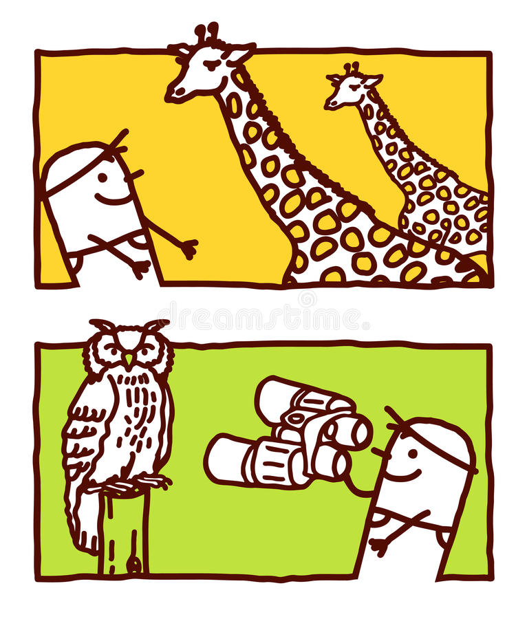 Giraffe et hibou illustration libre de droits