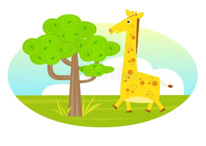 Giraffe et un arbre illustration stock